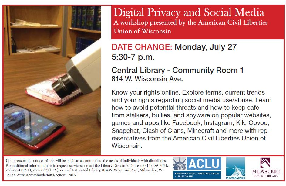ACLU's Digital Privacy and Social Media - TONIGHT! · MPL