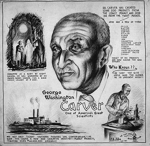 A drawing of George Washington Carver surrounded by illustrations relating to his inventions.